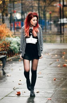 Grey cardigan, black dress with Peter Pan collar, tights, knee socks and docs