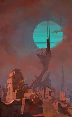 artist Re Mi Fantasy City, Fantasy Kunst, Fantasy World, Landscape Concept, Fantasy Landscape, Landscape Art, Arte Sci Fi, Sci Fi Art, Environment Concept