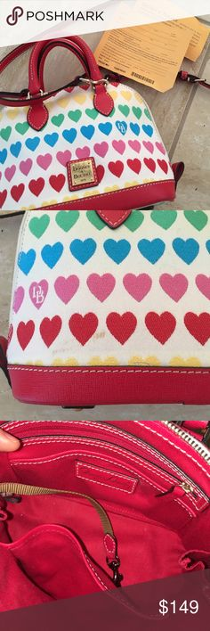 Authentic Rainbow Hearts Mini Crossbody purse bag Great Preowned condition. Only a couple of marks on the purse (see second photo).  Awesome gift for any woman ✨✨✨ Detachable Crossbody straps. Dooney & Bourke Bags Crossbody Bags