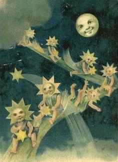Vintage moon and stars postcard image.