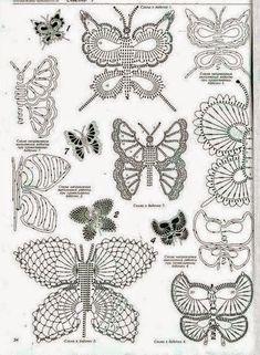 10 mariposas crochet - diagramas y paso a paso | Crochet y Dos agujas