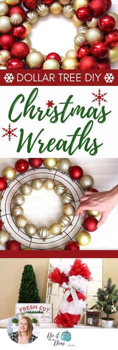 Dollar Tree Christmas DIY Wreaths 2017