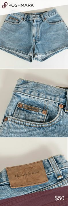 """Calvin Klein """"Mom"""" Jean Shorts Light Wash Size 7 I love the mom light washed look of these Calvin Klein jean shorts. These shorts are high rise for that vintage look. They are also in great used condition.   Measurements (flat lay):  Rise: 10.5"""" Top of shorts across: 14.5"""" Calvin Klein Jeans Shorts Jean Shorts"""