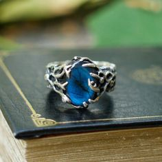 "Sterling Silver Labradorite Ring ""Rukmini"" with 4 diamonds MADE TO ORDER diamond ring"