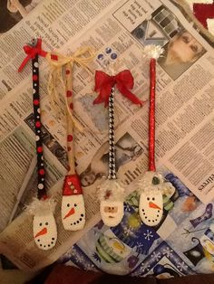 Wooden Spoons, snowmen and Santa by Charity Goodwin