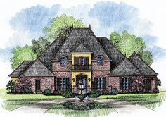 Grand French Country Home Plan - 56328SM | 1st Floor Master Suite, Acadian, Butler Walk-in Pantry, Corner Lot, Courtyard, Den-Office-Library-Study, European, French Country, Media-Game-Home Theater, PDF, Split Bedrooms | Architectural Designs