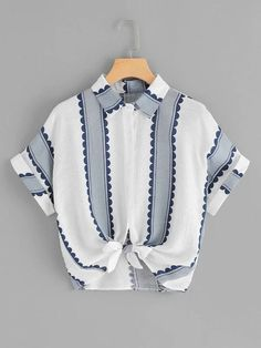 Casual Button and Knot Striped Shirt Regular Fit Collar Short Sleeve Roll Up Sleeve Placket Multicolor Regular Length Knot Hem Striped Cuffed Blouse Teen Fashion Outfits, Look Fashion, Trendy Fashion, Casual Outfits, Cute Outfits, Trendy Clothing, Fashion Women, Men Casual, Shirt Blouses