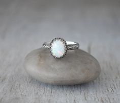Oval Opal Ring Sterling Silver - Handcrafted Artisan Silver Ring  - Sterling Silver Opal Ring - October Birthstone