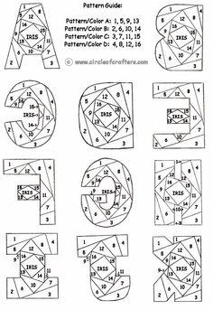 iris folding patterns ... alphabet A-I ...free printable iris folding patterns from circleofcrafters.com