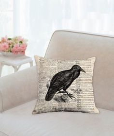 Raven Designer Halloween Pillow by KarrisCrafts on Etsy