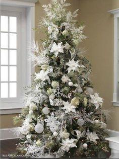 White Christmas Tree Decor ~ 20 Awesome #ChristmasTree Decorating Ideas & Inspirations - Style Estate -
