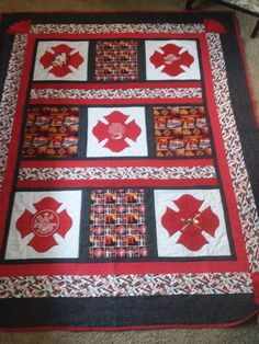 Quilt made for Oregon Volunteer Firefighters Association Burn Center auction. Funds used to send children victims to camp. Thanks to Rachell for the cross design Quilting Ideas, Quilting Projects, Sewing Projects, Projects To Try, Fire Dept, Fire Department, Fireman Quilt, 1st Responders, Volunteer Firefighter