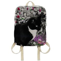 Freckles in Flowers II, Black and White Tuxedo Kitty Cat by dianeclancy