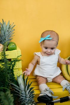 Summer 2019 - Wunderkin Co. Sweet Girls, Baby Girls, Little Girls, Kids Clothing Brands, Handmade Hair Bows, Colorful Fruit, Bow Tops, Romper Outfit, Baby Head