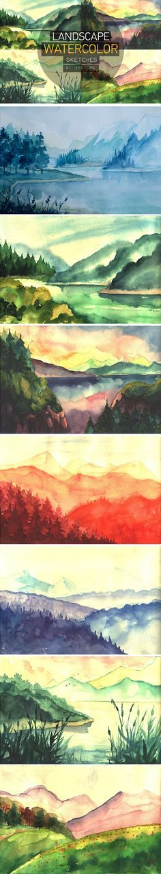 7 Watercolor Landscape Sketches by VitaliyVill on @creativemarket