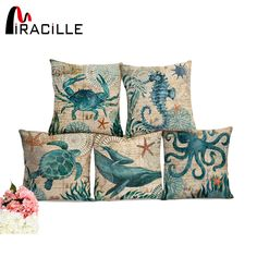 Miracille Sea Turtle Printed Cotton Linen Cushion Cover Marine Ocean Sea Horse Home Decor Pillowcase Octopus Sofa Cushion Case . Category: Home & Garden. Subcategory: Home Textile. Printed Cushions, Cushions On Sofa, Throw Pillow Covers, Throw Pillows, Sea Theme, Cotton Linen, Printed Cotton, Interior S, Shopping
