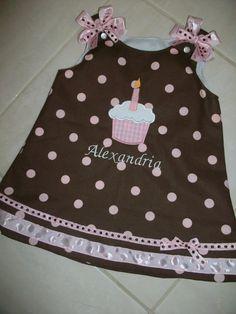 Chocolate and pink polka dot Birthday cupcake by kandybarnett, $35.00
