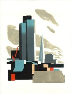 Tower 42 and Shard. A Paul Catherall London tower block Skyline linocut image reproduced as a greetings card Abstract Shapes, Geometric Shapes, Linocut Prints, Art Prints, London Drawing, Dimensional Shapes, Art Moderne, London Art, Environmental Art