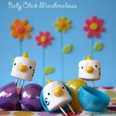Marshmallow chicks popping out of Easter eggs from @Amy Locurto | LivingLocurto.com