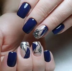 40 Trendy 2019 Dark Blue Nail Art Designs - Nails - Best Nail World Colorful Nail Designs, Nail Designs Spring, Acrylic Nail Designs, Nail Art Designs, Acrylic Nails, Acrylic Art, Nails Design, Gel Nail Art, Easy Nail Art