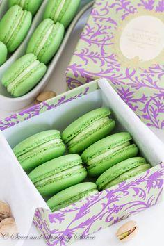 Classic Pistachio Macarons filled with Ladurée pistachio cream. Simply the best!