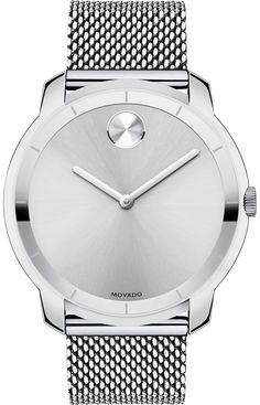 Movado Bold - Movado BOLD watch with Extra-large 44 mm or Mid-size 36 mm flat stainless steel case, silver-toned sunray dial with matching silver-toned sunray dot and hands, stainless steel mesh-link bracelet with mesh-textured back sizing links and deployment clasp, K1 crystal with metallized printed minute track, Swiss quartz movement, water resistant to 30 meters.