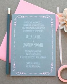 Pink + gray + handwritten-style font = wedding invitation perfection