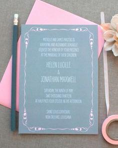 Pink + gray + handwritten-style font = wedding invitation perfection