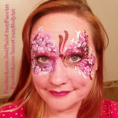 Inspired by Christina Pope and Natalia Malley Cherry blossom butterfly mask Masquerade face painting face paint makeup art flowers  Artist - Marie Sulcoski