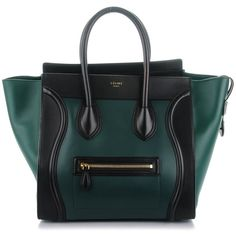 CELINE Satin Calfskin Bicolor Mini Luggage Bottle Black ❤ liked on Polyvore featuring bags and luggage