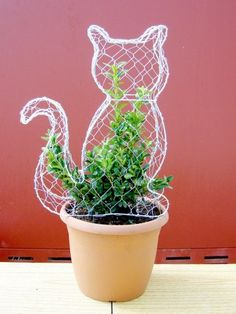 Large two-dimensional topiary cat frame with yr old buxus plant. Height available to buy from Top Topiary Ltd. Topiary Plants, Topiary Garden, Topiary Trees, Garden Crafts, Garden Projects, Garden Art, Boxwood Garden, Garden Trellis, Plantas Bonsai