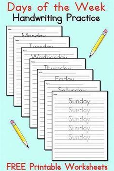 7 FREE Days of the Week Handwriting Worksheets! Penmanship Practice, Handwriting Practice Worksheets, Handwriting Activities, Improve Your Handwriting, Improve Handwriting, Handwriting Analysis, School Worksheets, Free Printable Worksheets, Kindergarten Worksheets