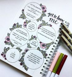 Get To Know Me bullet journal inspo Bullet Journal 2019, Bullet Journal Spread, Bullet Journal Ideas Pages, Bullet Journal Layout, My Journal, Bullet Journal Inspiration, Journal Pages, Journals, Love Cards