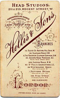 Vintage Photographic Studio Card // Awesome Lettering and Ornamentation