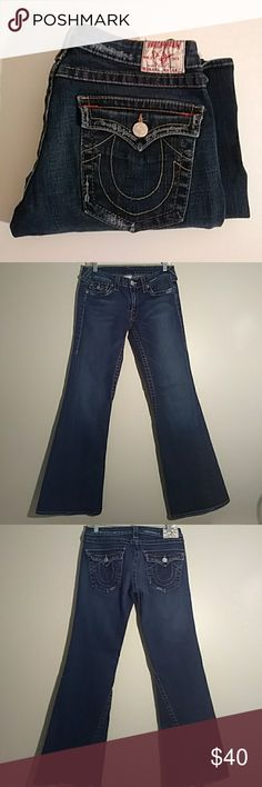"""True Religion distressed jeans Jeans in good condition, jeans have a slightly distressed look to then with wide legs, fits great. 31"""" long True Religion Jeans Flare & Wide Leg"""