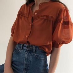 Vintage rust incredible paper thin cotton balloon sleeve summer button up. So stunning. Favorite find. Xs-m $68 + shipping. SOLD