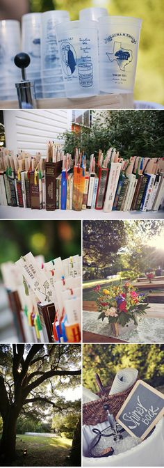 Bookmarks in books for table seating...then you go to the tables whose centerpiece displays the book your bookmark was in. AWESOME IDEA! Great way to use books without worry about them being on table and getting spilled on!