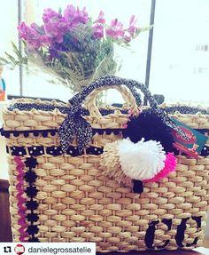 bolsa de praia em palha customizada