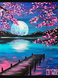 Paintings – 2 Hour on Creatively Uncorked Simple Canvas Paintings, Small Canvas Art, Diy Canvas Art, Acrylic Painting Canvas, Easy Paintings, Sunset Paintings, Lake Painting, Moon Painting, Spring Painting