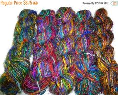 SALE Premium Recycled Sari Silk Yarn,  Mix. by SilkDivine on Etsy https://www.etsy.com/listing/124302863/sale-premium-recycled-sari-silk-yarn-mix
