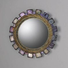 """""""Lutece""""--a """"miroir sorciere"""" by Line Vautrin. Blue and beige Talosel with blue and mauve glass. 220 mm. wide."""
