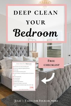 Avoid the stress and overwhelm of living in a messy house. Start today by using this simple checklist to deep clean your bedroom. Deep Cleaning Checklist, Deep Cleaning Tips, House Cleaning Tips, Cleaning Hacks, Cleaning Products, Bedroom Table, Clean Bedroom, Bedroom Cleaning, Messy Bedroom