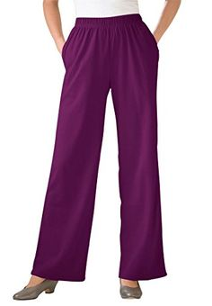 13f58aed1e7 Women s Plus Size Petite 7-Day Wide Leg Knit Pants Dark S..