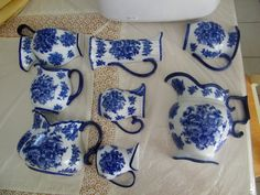 Set of Eight Blue and White Fine China Porcelain Wall Pocket Vases Pitchers | eBay