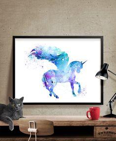 Unicorn Watercolor Print Unicorn Art Print by FineArtCenter
