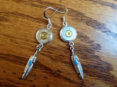 Silver Winchester 45 caliber bullet feather earrings by Myparttime