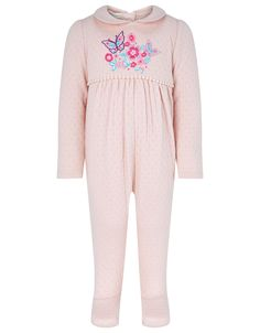 EMBROIDERED SLEEPSUIT WITH HAT. See more at http://www.parentideal.co.uk/monsoon---baby-sleepsuits.html or visit click on link to visit shop and view current prices. Sizes Newborn to 18 months, cotton, machine washable. #Sleepsuits #Sleepsuit #BabyNightwear #BabyClothes #Newborn #BabyGirlsClothes #Babygrow #Monsoon . Baby girl pink.