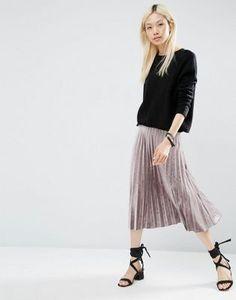 ASOS Pleated Midi Skirt in Velvet