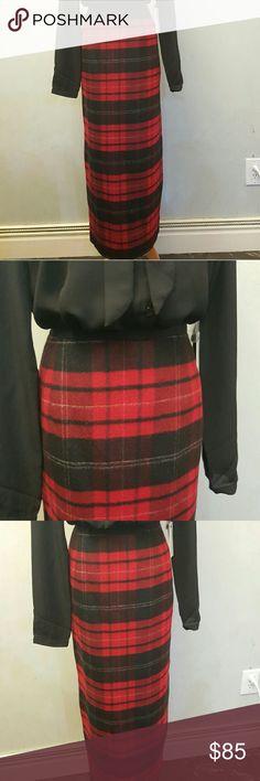 Red plaid Talbots wool skirt Red ans black plaid Talbots wool skirt. In perfect condition like new. Talbots Skirts Maxi