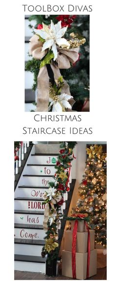 Great Christmas staircase ideas. #DIY #Christmas #staircase  #crafts